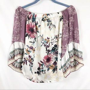 WHBM Floral Boho Bell Sleeve Blouse